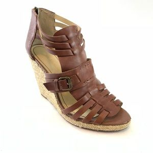 Enzo Angiolini brown leather wedge sandals 8.5 M